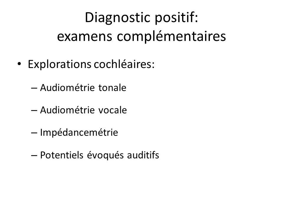 Diagnostic positif: examens complémentaires Explorations cochléaires: – Audiométrie tonale – Audiométrie vocale – Impédancemétrie – Potentiels évoqués