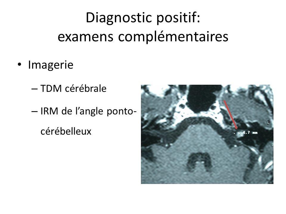 Diagnostic positif: examens complémentaires Imagerie – TDM cérébrale – IRM de langle ponto- cérébelleux
