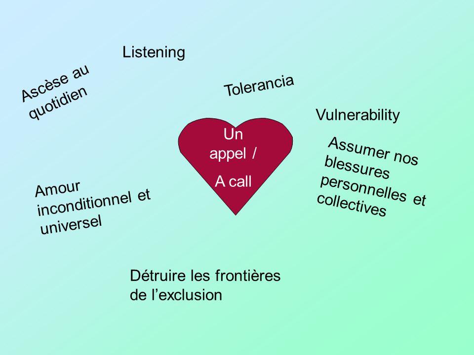 Un appel / A call Ascèse au quotidien Amour inconditionnel et universel Listening Assumer nos blessures personnelles et collectives Détruire les frontières de lexclusion Vulnerability Tolerancia