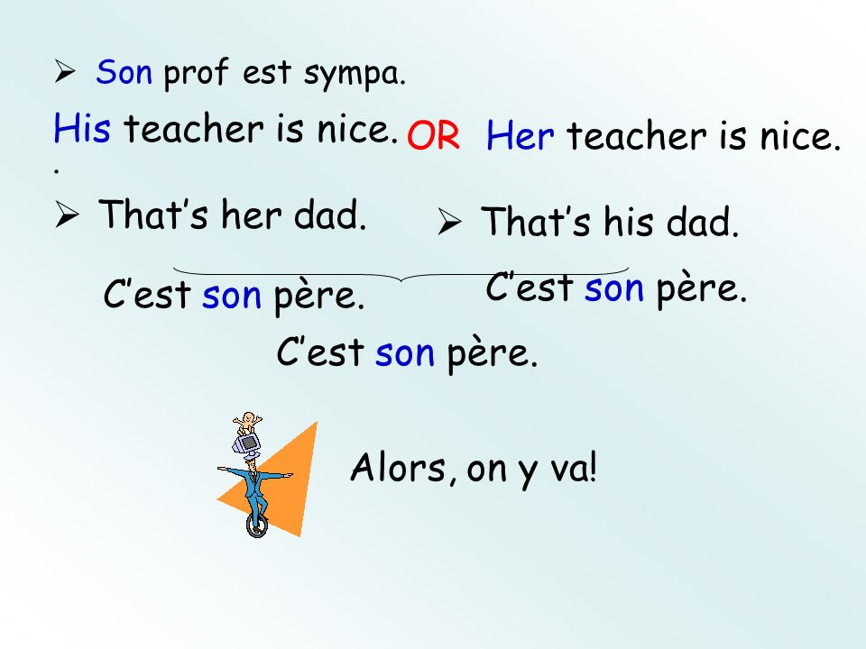 Son prof est sympa.. His teacher is nice. OR Her teacher is nice. Thats her dad. Cest son père. Thats his dad. Cest son père. Alors, on y va! Cest son
