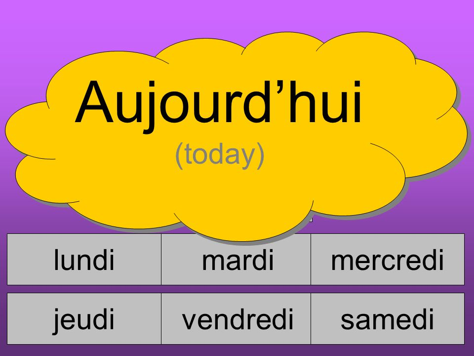 lundimardimercredi jeudi vendredisamedi dimanche Aujourdhui (today)
