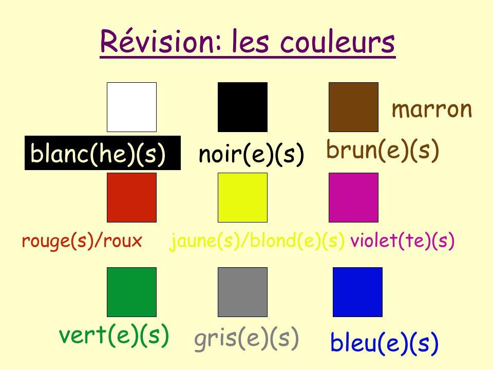 blanc(he)(s)noir(e)(s) brun(e)(s) rouge(s)/rouxjaune(s)/blond(e)(s)violet(te)(s) vert(e)(s) gris(e)(s) bleu(e)(s) Révision: les couleurs marron