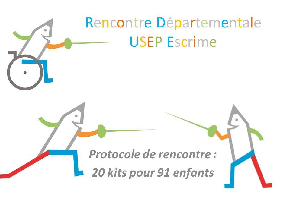 Rencontre DépartementaleUSEP EscrimeRencontre DépartementaleUSEP Escrime Protocole de rencontre : 20 kits pour 91 enfants