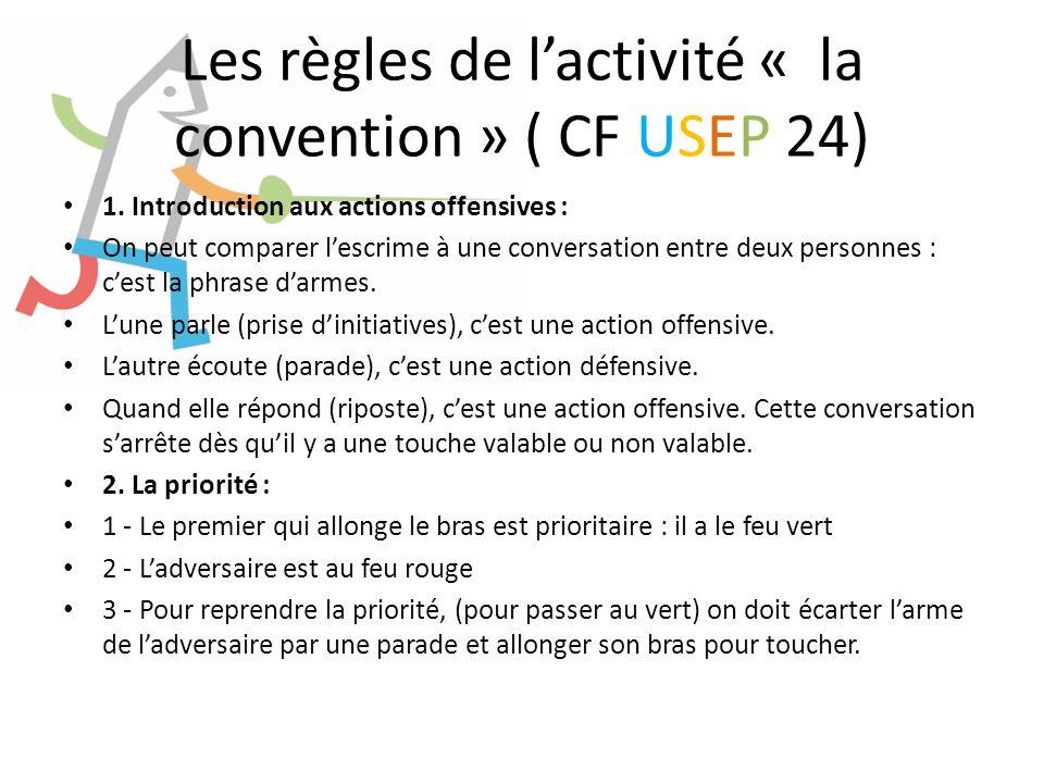 Les règles de lactivité « la convention » ( CF USEP 24) 1. Introduction aux actions offensives : On peut comparer lescrime à une conversation entre de