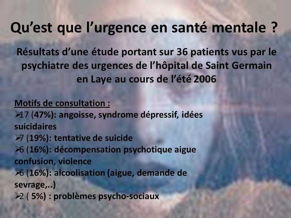 Quest que lurgence en santé mentale ? Résultats dune étude portant sur 36 patients vus par le psychiatre des urgences de lhôpital de Saint Germain en