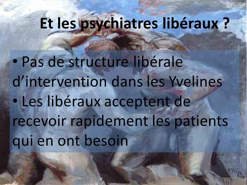 Et les psychiatres libéraux ? Pas de structure libérale dintervention dans les Yvelines Les libéraux acceptent de recevoir rapidement les patients qui