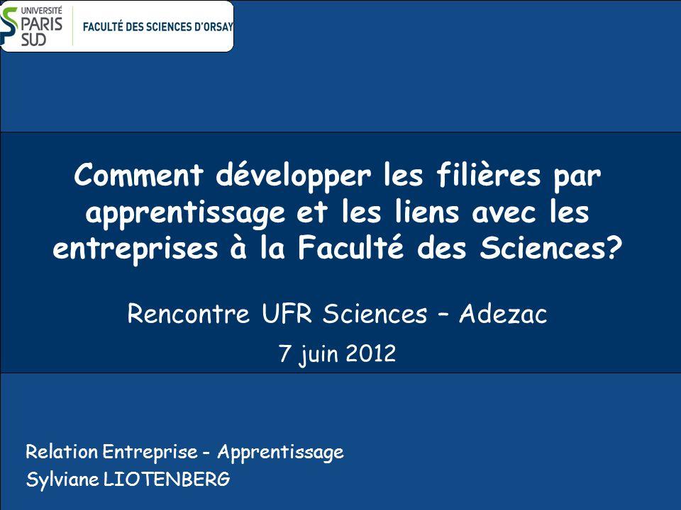 Comment développer les filières par apprentissage et les liens avec les entreprises à la Faculté des Sciences? Rencontre UFR Sciences – Adezac 7 juin