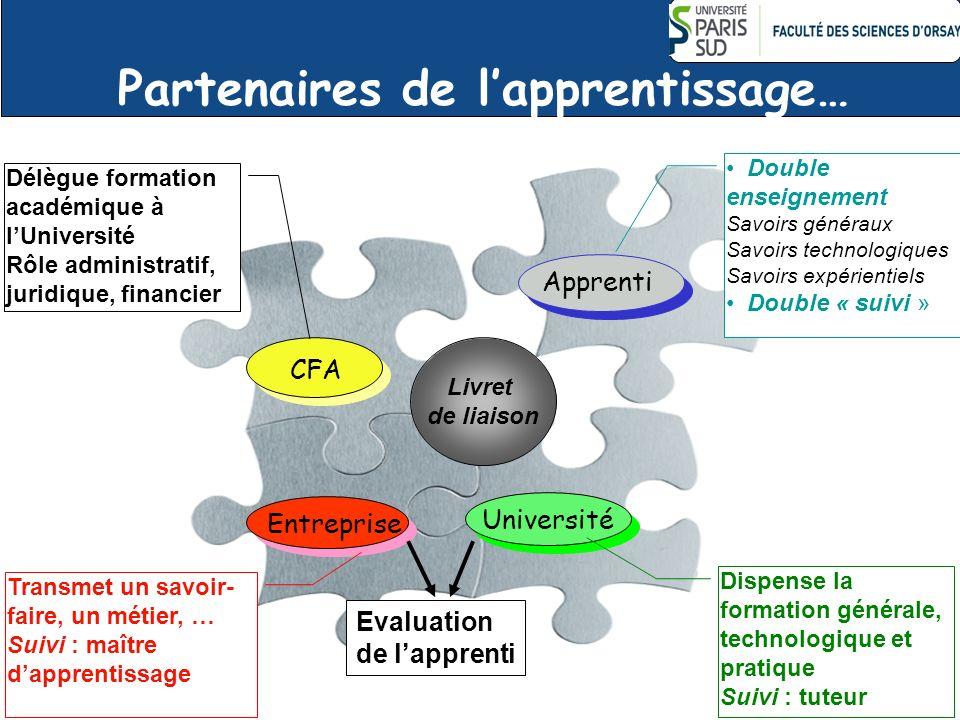 Partenaires de lapprentissage… 12 CFA Apprenti Université Entreprise Dispense la formation générale, technologique et pratique Suivi : tuteur Double e