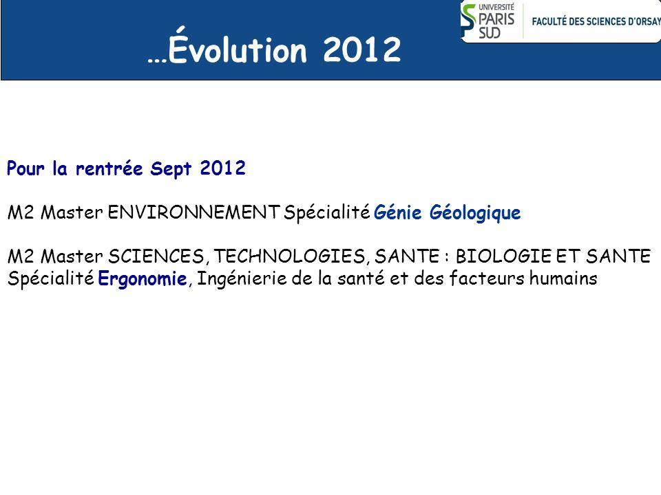 …Évolution 2012 Pour la rentrée Sept 2012 M2 Master ENVIRONNEMENT Spécialité Génie Géologique M2 Master SCIENCES, TECHNOLOGIES, SANTE : BIOLOGIE ET SA