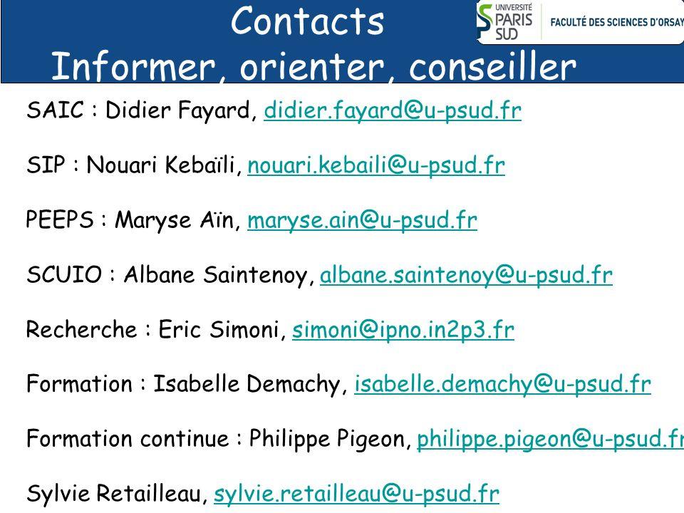 Contacts Informer, orienter, conseiller SAIC : Didier Fayard, didier.fayard@u-psud.frdidier.fayard@u-psud.fr SIP : Nouari Kebaïli, nouari.kebaili@u-psud.frnouari.kebaili@u-psud.fr PEEPS : Maryse Aïn, maryse.ain@u-psud.frmaryse.ain@u-psud.fr SCUIO : Albane Saintenoy, albane.saintenoy@u-psud.fralbane.saintenoy@u-psud.fr Recherche : Eric Simoni, simoni@ipno.in2p3.frsimoni@ipno.in2p3.fr Formation : Isabelle Demachy, isabelle.demachy@u-psud.frisabelle.demachy@u-psud.fr Formation continue : Philippe Pigeon, philippe.pigeon@u-psud.frphilippe.pigeon@u-psud.fr Sylvie Retailleau, sylvie.retailleau@u-psud.frsylvie.retailleau@u-psud.fr