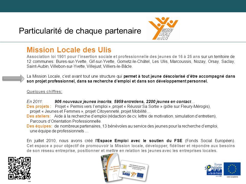 Adezac 06/09/2012 Particularité de chaque partenaire Mission Locale des Ulis Association loi 1901 pour linsertion sociale et professionnelle des jeune