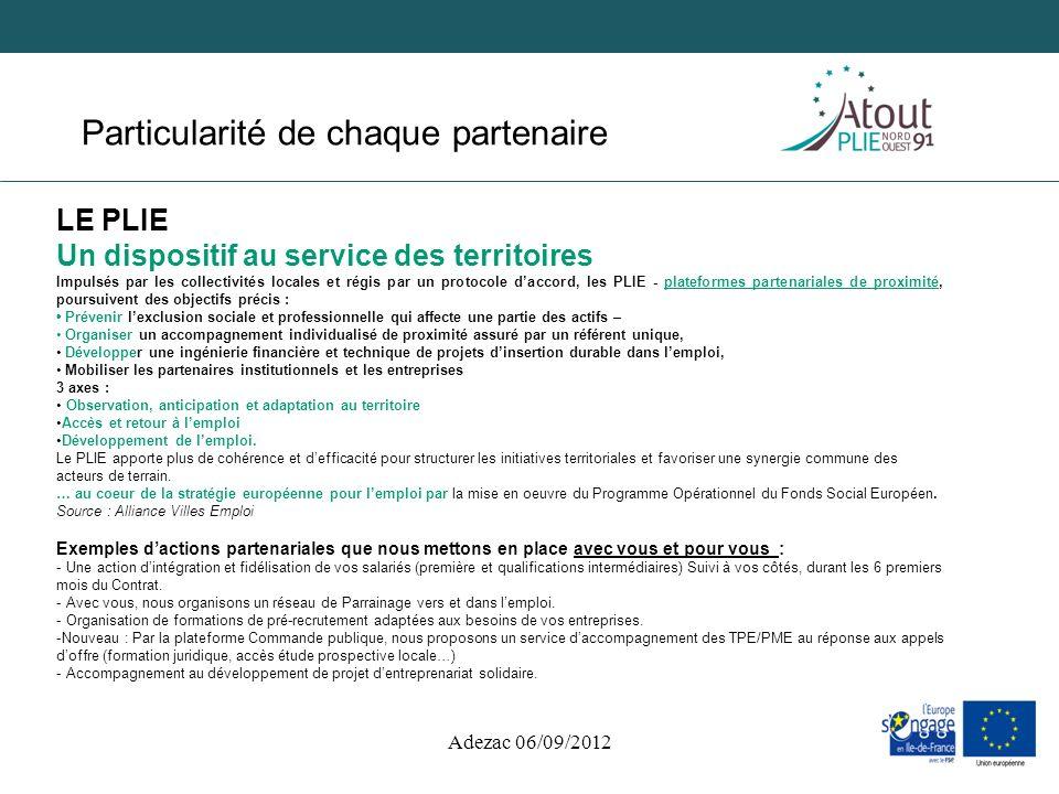 Adezac 06/09/2012 Particularité de chaque partenaire LE PLIE Un dispositif au service des territoires Impulsés par les collectivités locales et régis