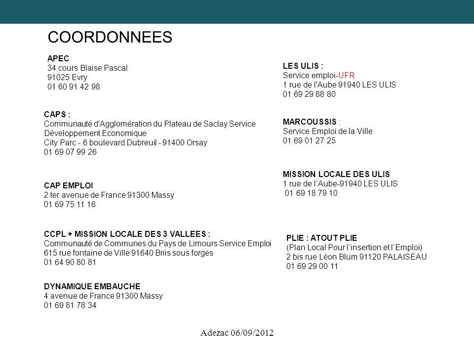 Adezac 06/09/2012 CCPL + MISSION LOCALE DES 3 VALLEES : Communauté de Communes du Pays de Limours Service Emploi 615 rue fontaine de Ville 91640 Briis