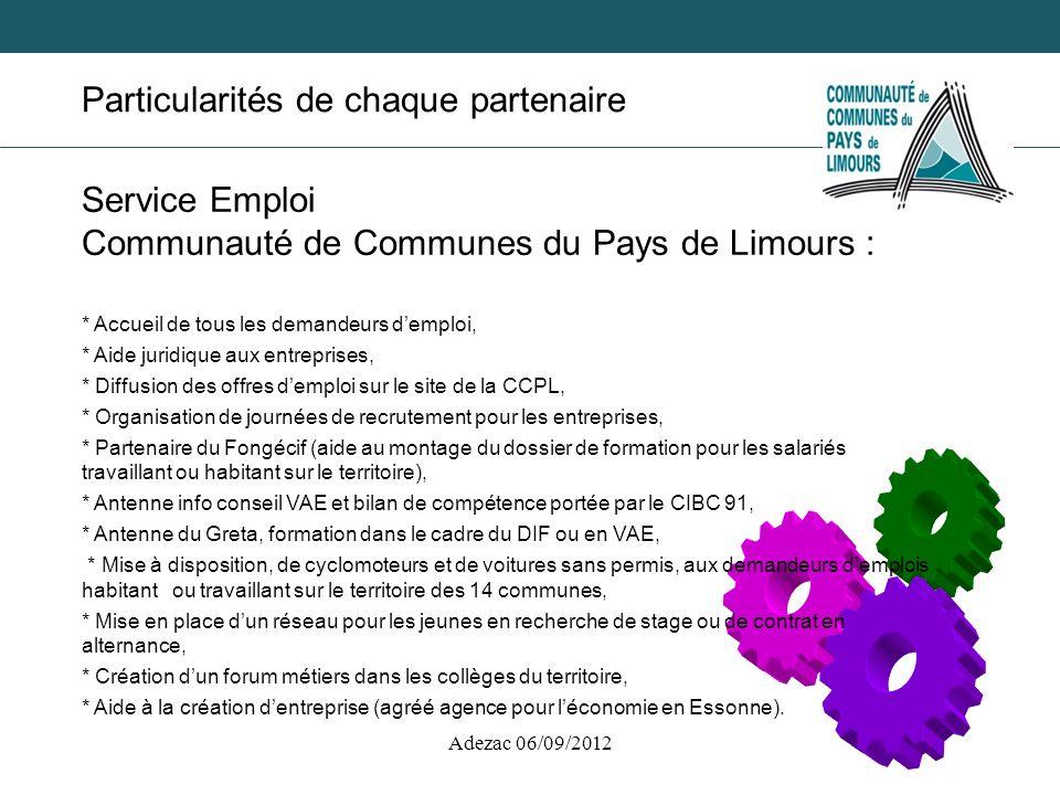 Adezac 06/09/2012 Particularités de chaque partenaire Service Emploi Communauté de Communes du Pays de Limours : * Accueil de tous les demandeurs demp
