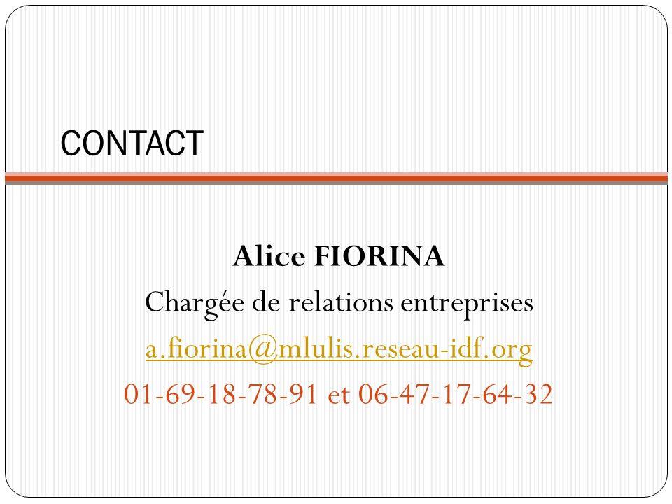 CONTACT Alice FIORINA Chargée de relations entreprises a.fiorina@mlulis.reseau-idf.org 01-69-18-78-91 et 06-47-17-64-32