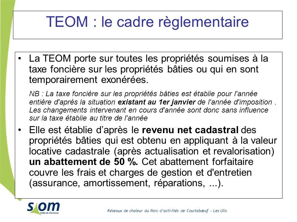 Réseaux de chaleur du Parc dactivités de Courtabœuf – Les Ulis TEOM : le cadre règlementaire La TEOM porte sur toutes les propriétés soumises à la tax