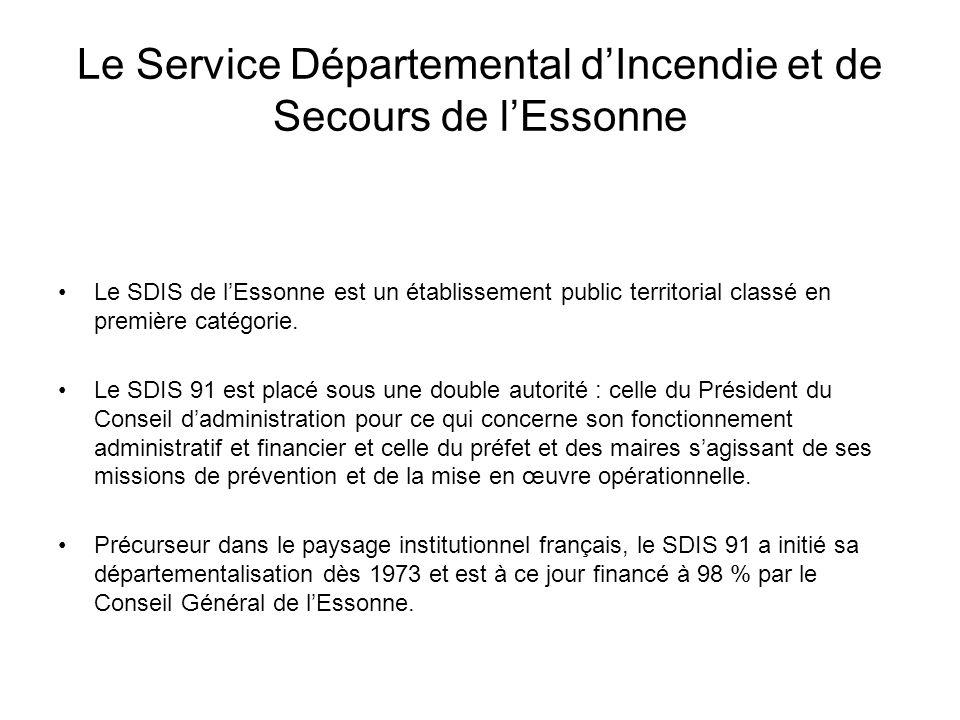 Le Service Départemental dIncendie et de Secours de lEssonne Le SDIS de lEssonne est un établissement public territorial classé en première catégorie.