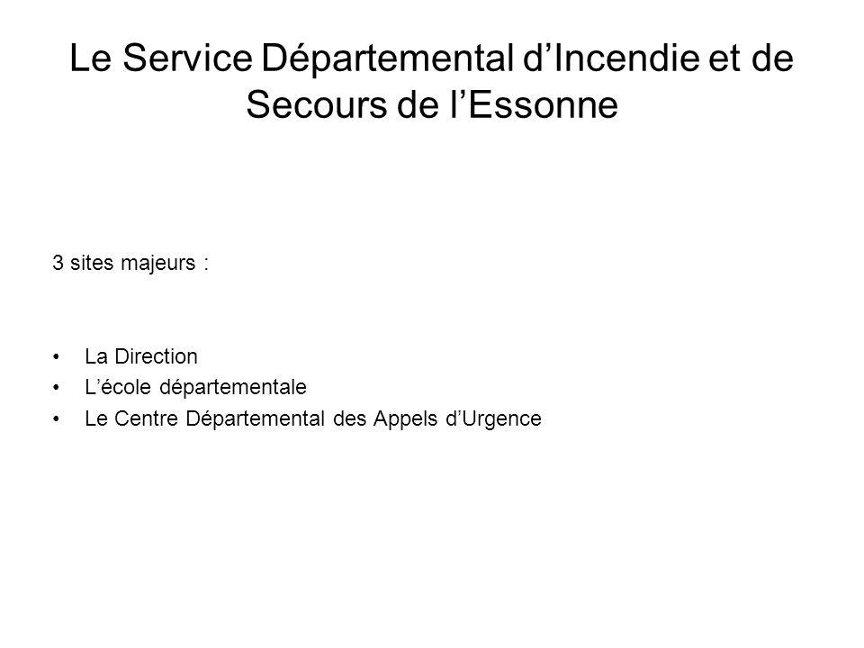 3 sites majeurs : La Direction Lécole départementale Le Centre Départemental des Appels dUrgence Le Service Départemental dIncendie et de Secours de lEssonne