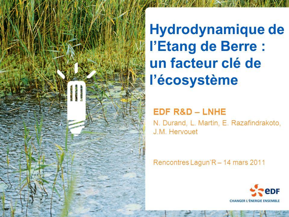 Hydrodynamique de lEtang de Berre : un facteur clé de lécosystème EDF R&D – LNHE N. Durand, L. Martin, E. Razafindrakoto, J.M. Hervouet Rencontres Lag