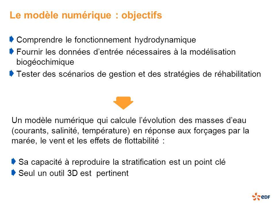 Le modèle numérique : objectifs Comprendre le fonctionnement hydrodynamique Fournir les données dentrée nécessaires à la modélisation biogéochimique T