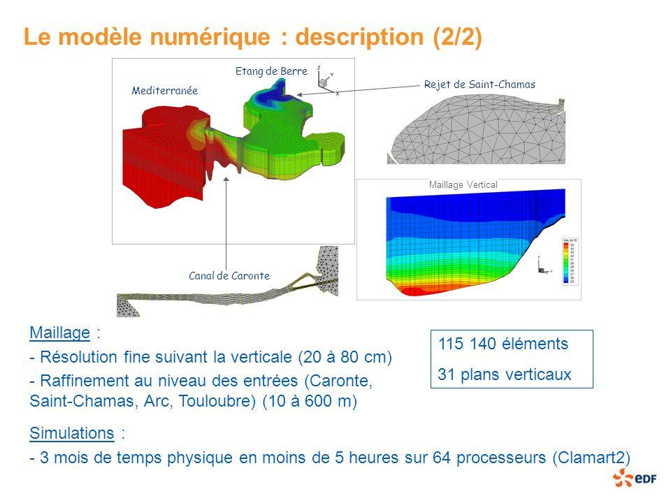 Le modèle numérique : description (2/2) 115 140 éléments 31 plans verticaux Rejet de Saint-Chamas Mediterranée Etang de Berre Canal de Caronte Maillag