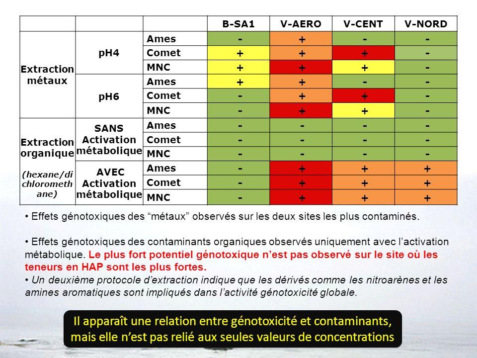 B-SA1V-AEROV-CENTV-NORD Extraction métaux pH4 Ames - + - - Comet + + + - MNC + + + - pH6 Ames + + - - Comet - + + - MNC - + + - Extraction organique (