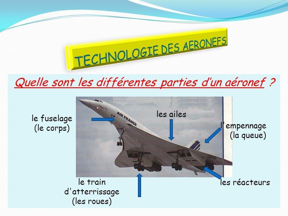 Quelle sont les différentes parties dun aéronef ? le fuselage (le corps) l'empennage (la queue) le train d'atterrissage (les roues) les réacteurs les