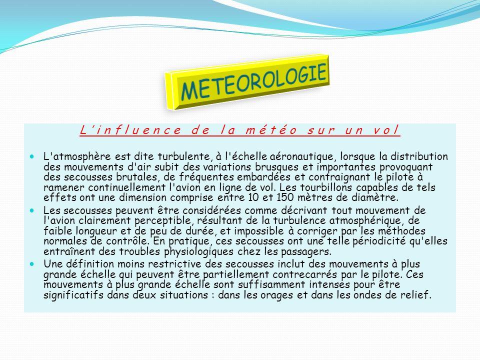 Linfluence de la météo sur un vol L'atmosphère est dite turbulente, à l'échelle aéronautique, lorsque la distribution des mouvements d'air subit des v