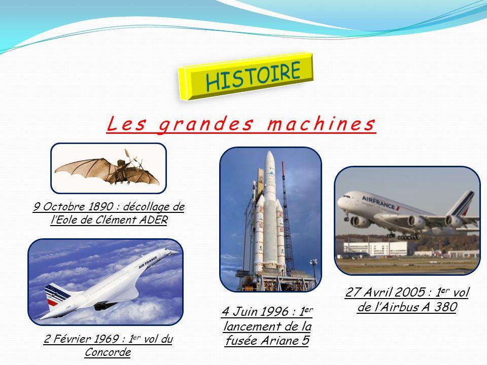 Les grandes machines 4 Juin 1996 : 1 er lancement de la fusée Ariane 5 2 Février 1969 : 1 er vol du Concorde 27 Avril 2005 : 1 er vol de lAirbus A 380