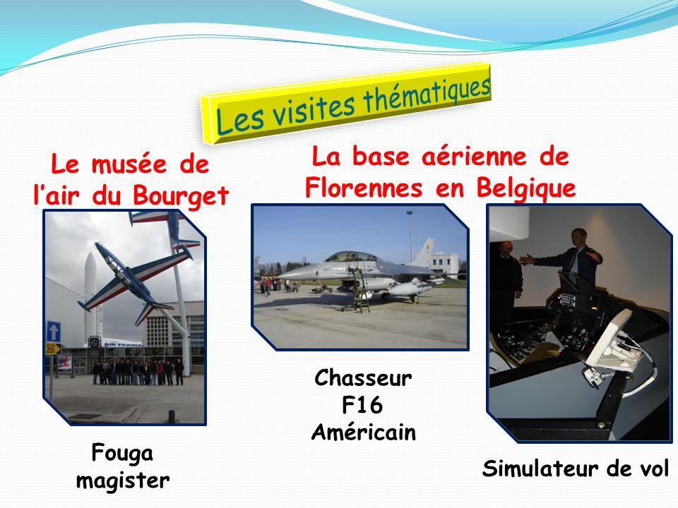 Le musée de lair du Bourget La base aérienne de Florennes en Belgique Chasseur F16 Américain Simulateur de vol Fouga magister