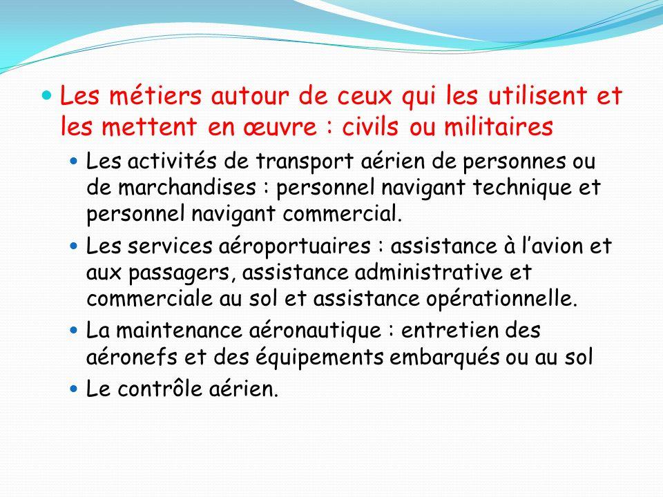 Les métiers autour de ceux qui les utilisent et les mettent en œuvre : civils ou militaires Les activités de transport aérien de personnes ou de march