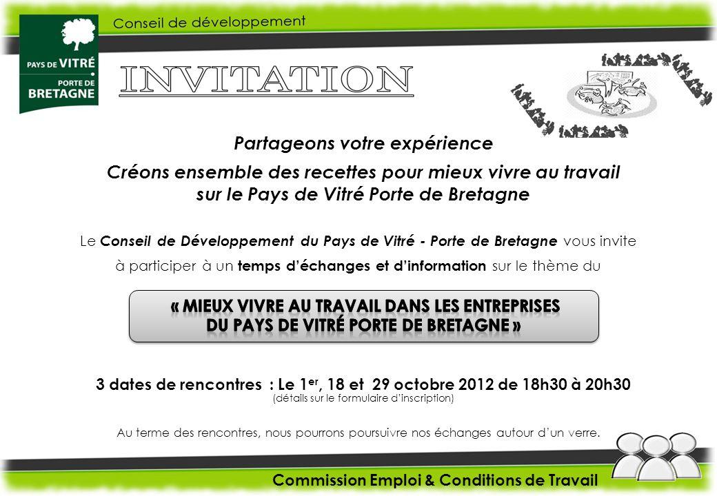 Le Conseil de Développement du Pays de Vitré - Porte de Bretagne vous invite à participer à un temps déchanges et dinformation sur le thème du Commiss