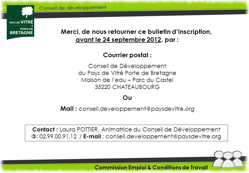 Merci, de nous retourner ce bulletin dinscription, avant le 24 septembre 2012, par : Courrier postal : Conseil de Développement du Pays de Vitré Porte