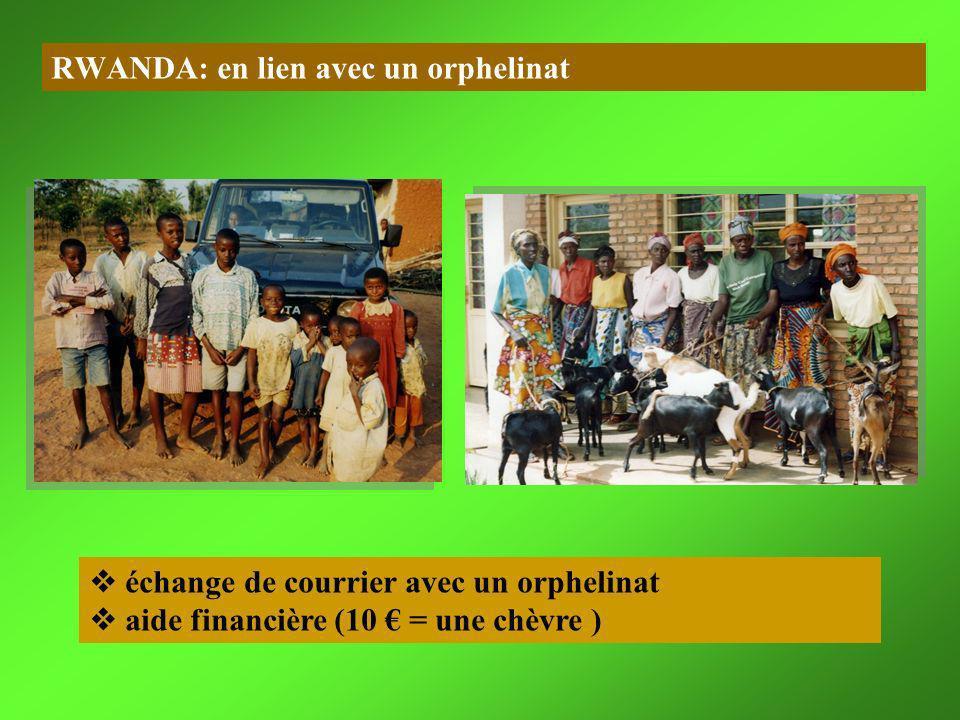 RWANDA: en lien avec un orphelinat échange de courrier avec un orphelinat aide financière (10 = une chèvre )