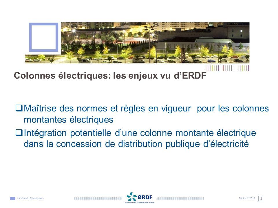 3 24 Avril 2013Le rôle du Distributeur Colonnes montantes électriques : une norme et des règles qui sappliquent à tous les professionnels de lélectricité La norme NF C 14-100 sapplique à toutes les créations et rénovations de colonnes électriques.