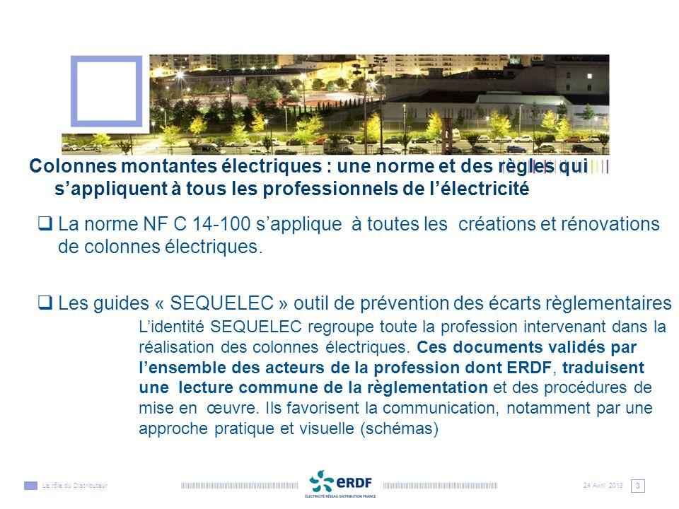 4 24 Avril 2013Le rôle du Distributeur Colonnes montantes électriques : rôle dERDF en tant quexploitant des ouvrages ERDF, concessionnaire du réseau électrique de distribution publique, est responsable en qualité dExploitant et ce quel que soit le régime de propriété de la colonne électrique.