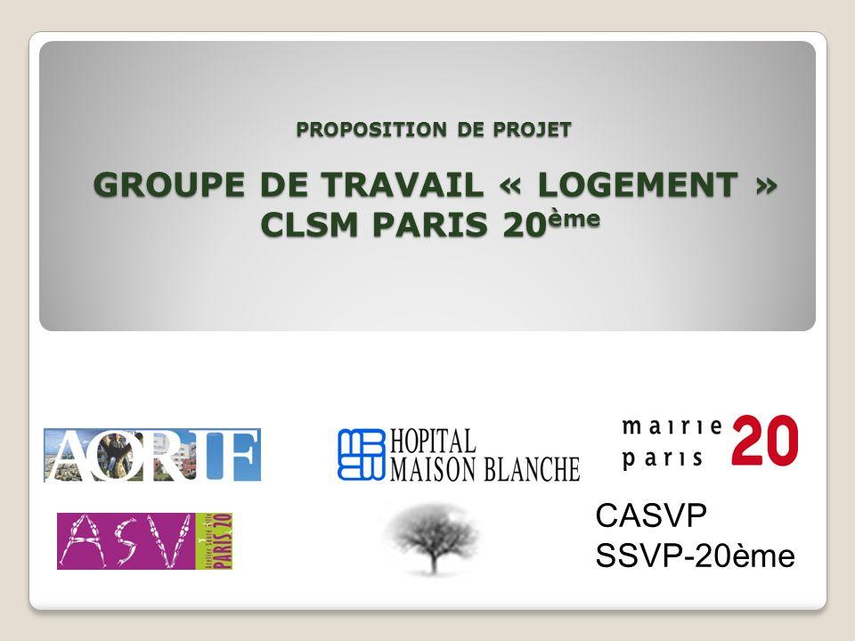 PROPOSITION DE PROJET GROUPE DE TRAVAIL « LOGEMENT » CLSM PARIS 20 ème PROPOSITION DE PROJET GROUPE DE TRAVAIL « LOGEMENT » CLSM PARIS 20 ème CASVP SS