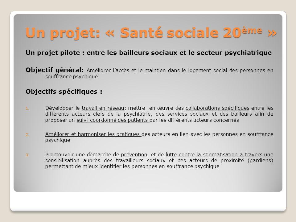 Un projet: « Santé sociale 20 ème » Un projet pilote : entre les bailleurs sociaux et le secteur psychiatrique Objectif général: Améliorer laccès et l