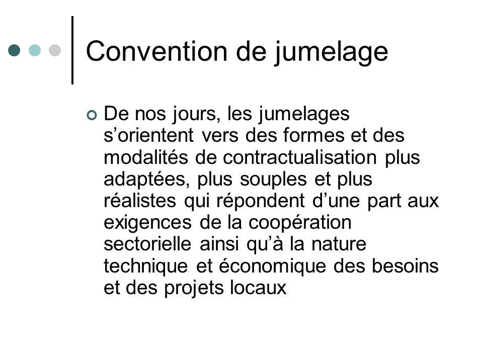 Convention de jumelage De nos jours, les jumelages sorientent vers des formes et des modalités de contractualisation plus adaptées, plus souples et pl