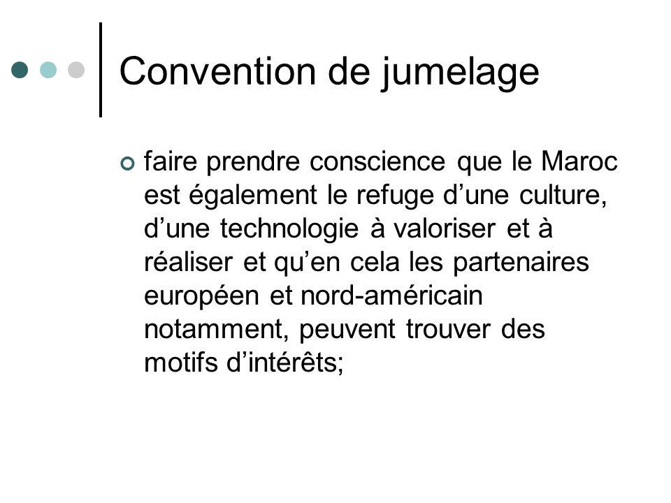 Convention de jumelage faire prendre conscience que le Maroc est également le refuge dune culture, dune technologie à valoriser et à réaliser et quen