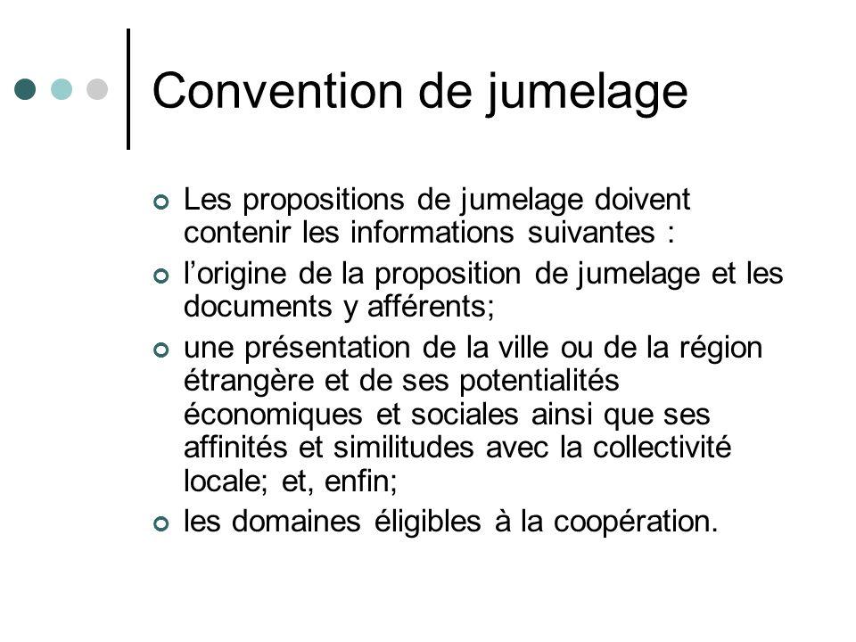 Convention de jumelage Les propositions de jumelage doivent contenir les informations suivantes : lorigine de la proposition de jumelage et les docume