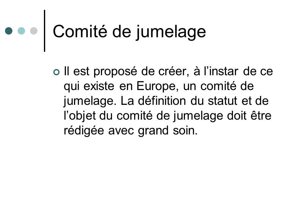 Comité de jumelage Il est proposé de créer, à linstar de ce qui existe en Europe, un comité de jumelage. La définition du statut et de lobjet du comit