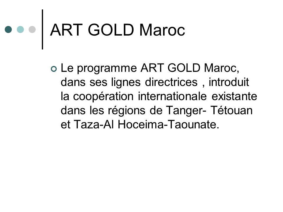 ART GOLD Maroc Le programme ART GOLD Maroc, dans ses lignes directrices, introduit la coopération internationale existante dans les régions de Tanger-