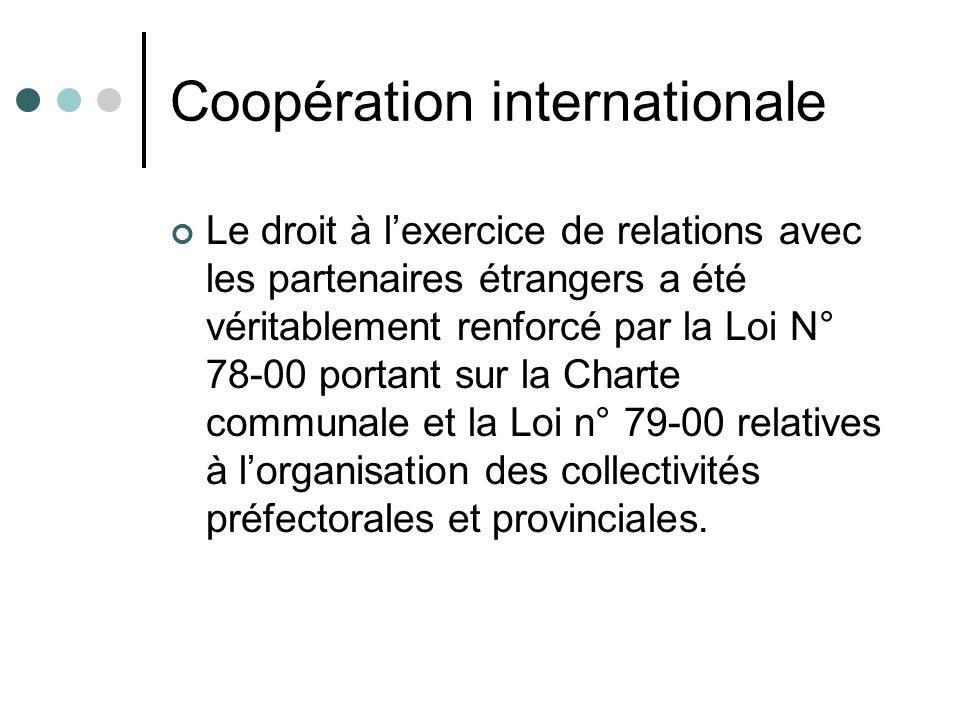 Coopération internationale Le droit à lexercice de relations avec les partenaires étrangers a été véritablement renforcé par la Loi N° 78-00 portant s