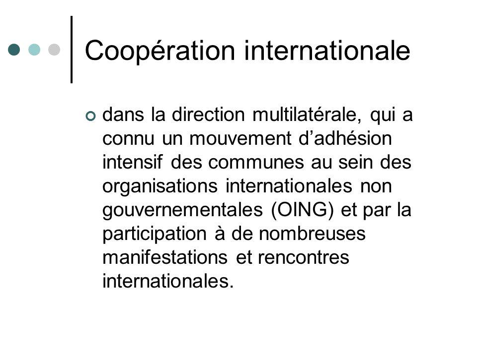 Coopération internationale dans la direction multilatérale, qui a connu un mouvement dadhésion intensif des communes au sein des organisations interna