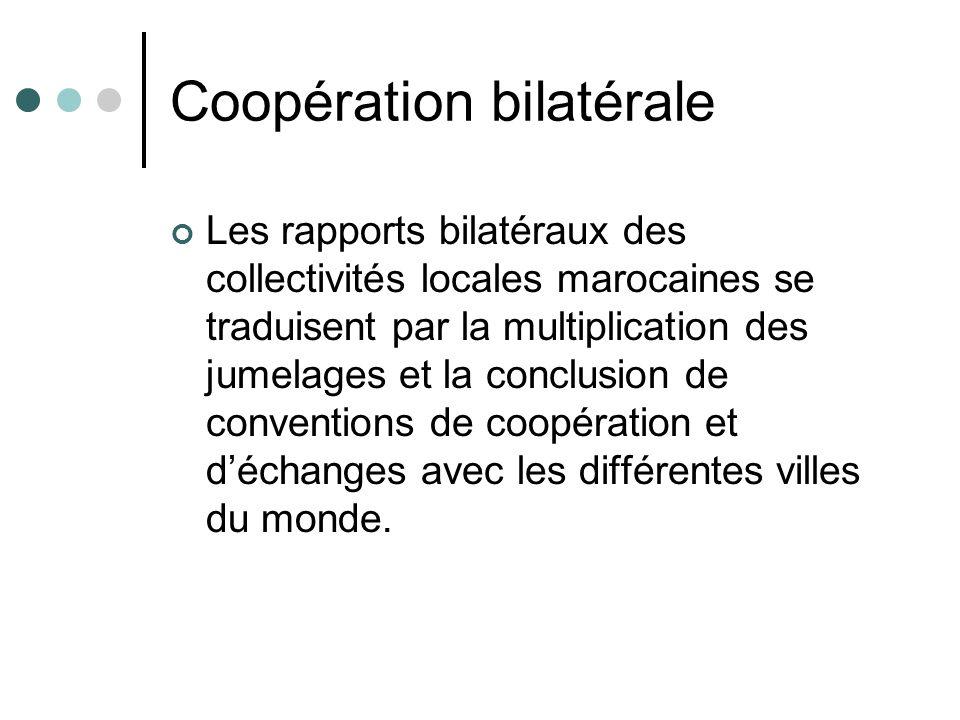 Coopération bilatérale Les rapports bilatéraux des collectivités locales marocaines se traduisent par la multiplication des jumelages et la conclusion