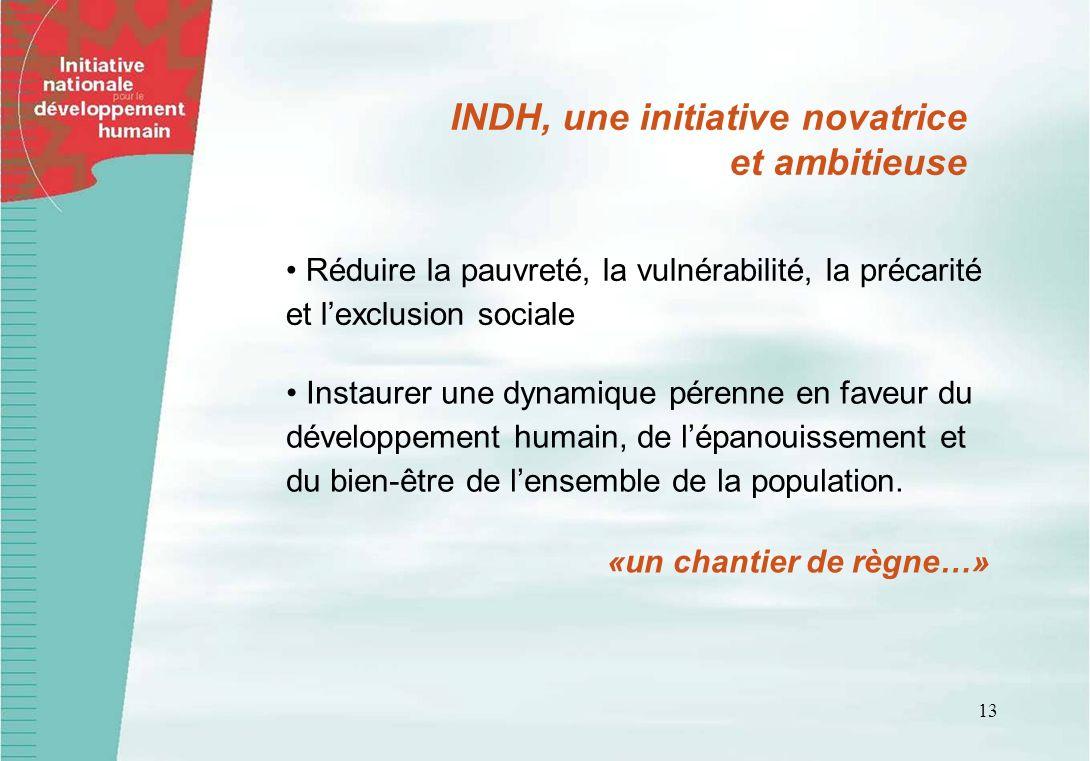 13 Réduire la pauvreté, la vulnérabilité, la précarité et lexclusion sociale INDH, une initiative novatrice et ambitieuse Instaurer une dynamique pére