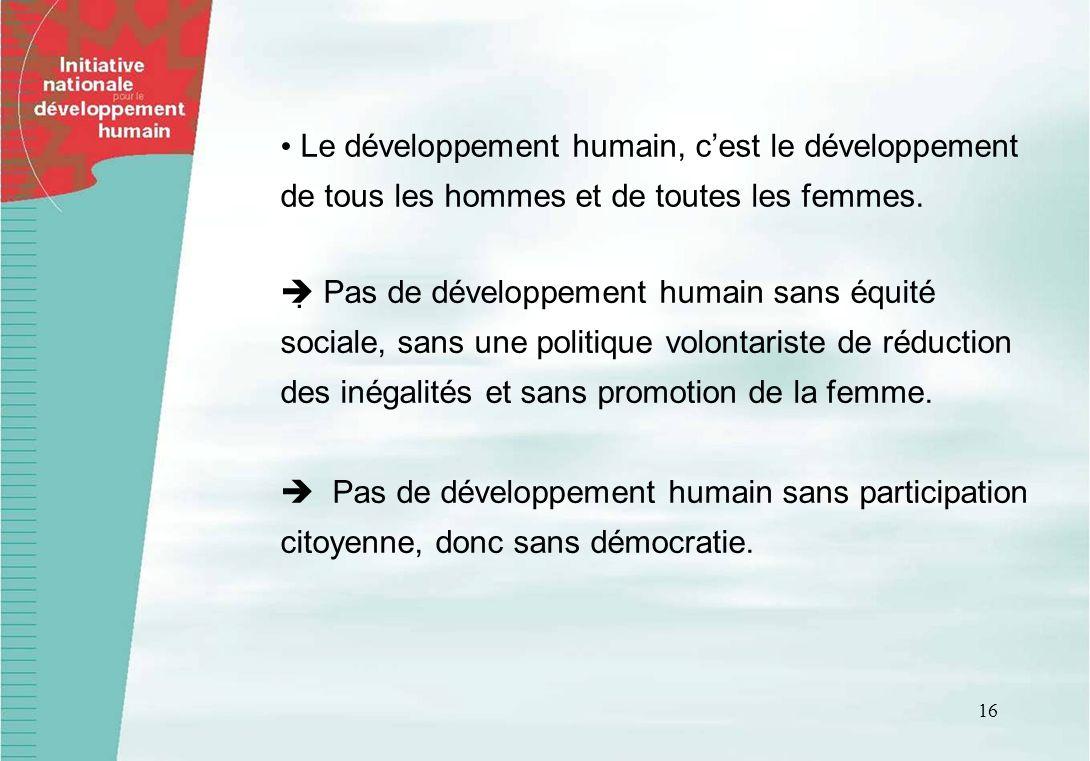 16 Le développement humain, cest le développement de tous les hommes et de toutes les femmes. Pas de développement humain sans équité sociale, sans un
