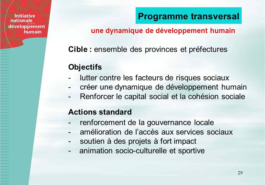 29 Cible : ensemble des provinces et préfectures Objectifs -lutter contre les facteurs de risques sociaux -créer une dynamique de développement humain