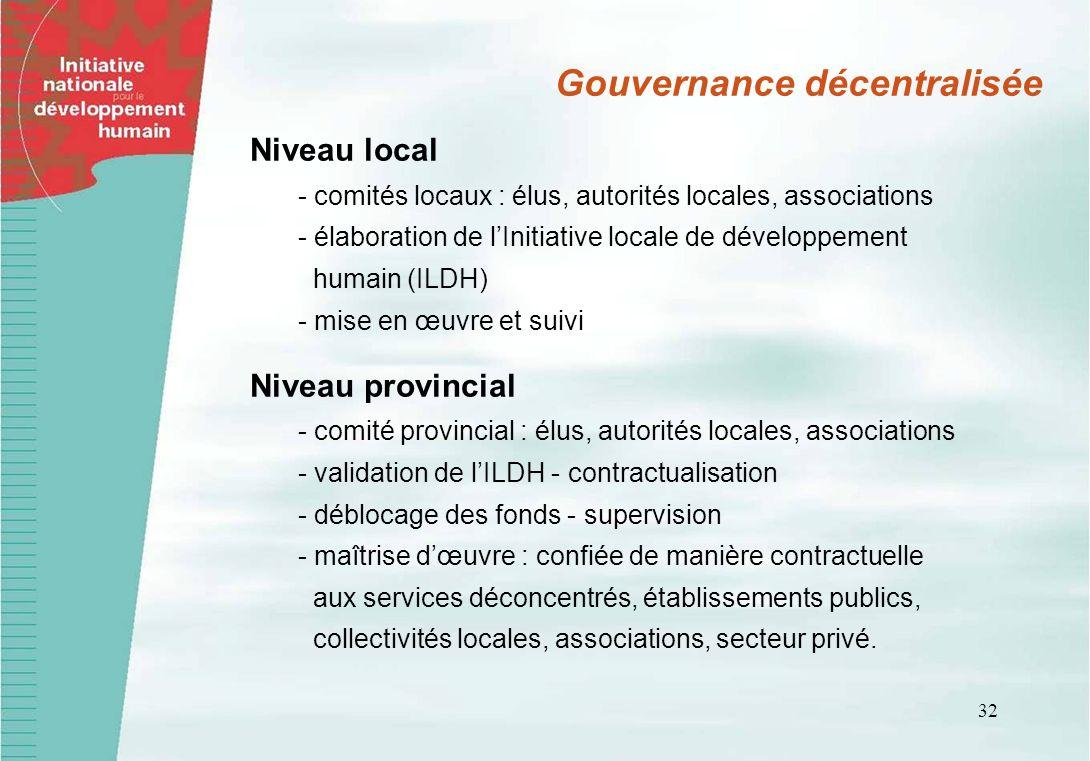 32 Gouvernance décentralisée Niveau local - comités locaux : élus, autorités locales, associations - élaboration de lInitiative locale de développemen
